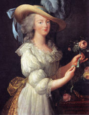 Marie Antoinette in a muslin dress; art by Elisabeth Vig�e-Lebrun